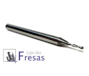 Fresa ball nose de 2 cortes helicoidais - 1mm - Metal duro