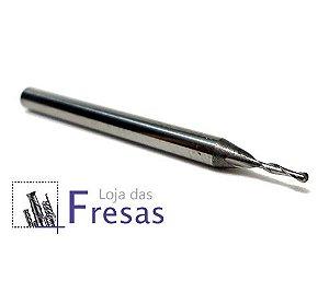 Fresa ball nose de 2 cortes helicoidais - 1mm - Metal duro