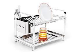 Escorredor em aço inox 16 pratos e porta talheres
