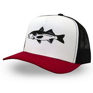 Boné Robalo Flecha - Made in Fishing ® - Original - Branco, preto e vermelho
