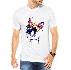 Camiseta Masculina Branca - Bulldog Watercolor Colorido