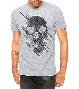 Camiseta Masculina Cinza - Caveira Estilizada Cinza