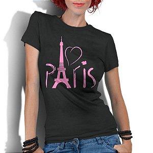Camiseta Feminina Preta - Love Paris