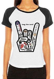 Camiseta Raglan Feminina - Long Live Rock