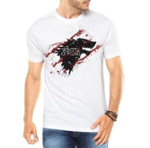 Camiseta Masculina - Game Of Thrones Winter Is Coming Blood Wolf