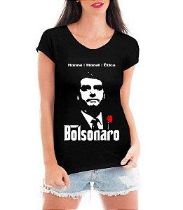Camiseta Feminina T-shirt Preta - Bolsonaro Presidente 2018 Mito