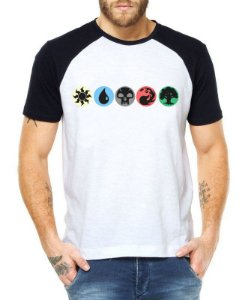 Camiseta Masculina Raglan Branca - Camiseta de Batalha Encantamento Magic