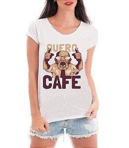 Camiseta Feminina T-shirt Branca - Quero Café