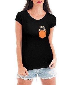 Camiseta Feminina T-shirt - Pug no Bolso