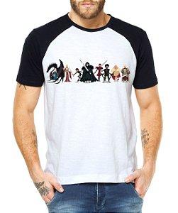 Camiseta Masculina Raglan Branca - Guerra dos Tronos Personagens