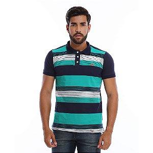 Camisa Polo Masculina Listrada Azul Marinho com Verde