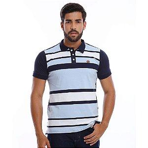 Camisa Polo Masculina Listrada Azul com Branco