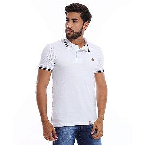 Camisa Polo Masculina Lisa Branca Algodão Piquet