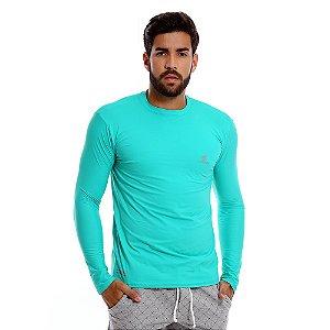 Camisa UV Masculina Com Proteção Solar Fator 50 Verde Agua
