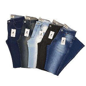 Kit com 5 Calças Jeans Masculinas Slim com Lycra