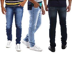 Kit com 3 Calças Jeans Masculinas Slim com Lycra
