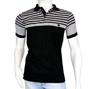 Camisa Polo Masculina Blitz Preta Listrada em Promoção