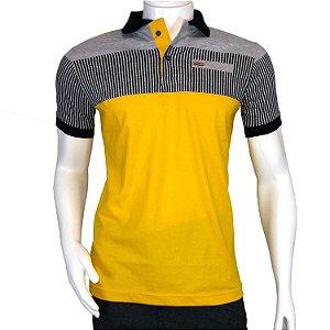 Camisa Polo Masculina Blitz Amarela Listrada em Promoção