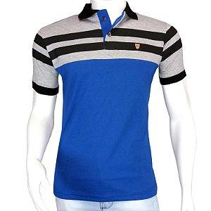 Camisa Polo Masculina Blitz Azul Com Listras em Promoção