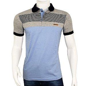 Camisa Polo Masculina Blitz Azul Claro Listrada Promoção