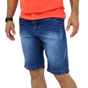 Bermuda Jeans Tradicional Masculina Azul Destroy