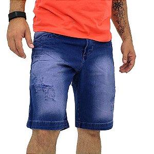 Bermuda Jeans Tradicional Reta Masculina Azul Carbono