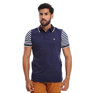Camisa Gola Polo Masculina Azul com Mangas Listradas
