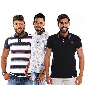 Kit com 3 Camisas Polo Masculinas de Malha Piquet