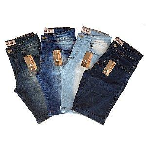 Kit com 4 Bermudas Jeans Masculinas Slim com Lycra