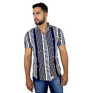 Camisa Masculina Listrada Azul e Branco Manga Curta Bamborra