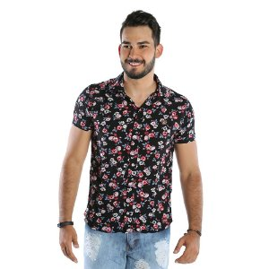 Camisa Estampada Florida Masculina Preta Bamborra