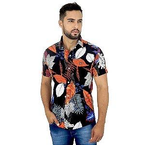 Camisa Social Preta Masculina Estampada Florida