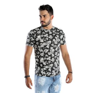 Camiseta Preta Masculina Com Estampa Floral