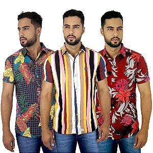 Kit Com 3 Camisas Masculinas Casuais Estampadas Bamborra