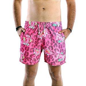 Bermuda de Tactel Masculina Estampada Pantera Cor de Rosa