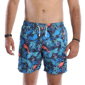 Short Praia Masculino Tactel Estampa Florida com Flamingos