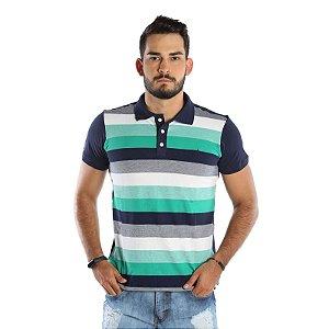 Camisa Polo Masculina de Malha Piquet de Algodão Listrada