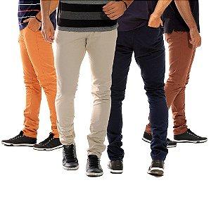 Kit com 4 Calças Masculinas Coloridas de Sarja