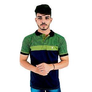 Camisa Polo Masculina Blitz Listrada Azul com Verde