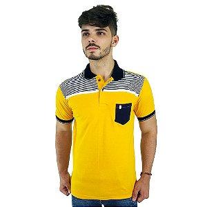 Camisa Polo Masculina Blitz Amarela Com Listras e Bolso