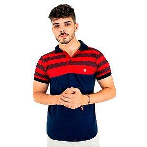 Camisa Polo Masculina Blitz Listrada Vermelha Com Marinho