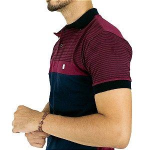 Camisa Polo Masculina Blitz Repartida Vinho e Azul Marinho
