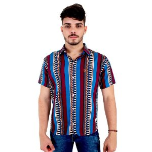 Camisa Masculina Casual de Viscose Com Listras Verticais