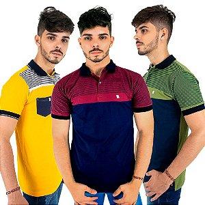 Kit com 3 Camisas Polo Listradas Masculinas de Algodão