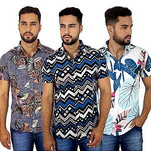Kit Com 3 Camisas Sociais Masculinas Floridas e Listradas Bamborra