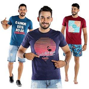 Kit com 3 Camisetas Masculinas Estampadas Bamborra