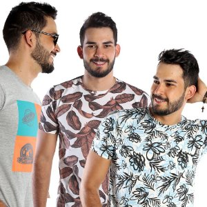 Kit com 3 Camisetas Estampadas Gola Careca Bamborra