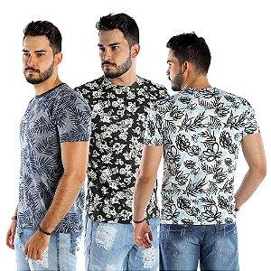 Kit com 3 Camisetas T-shirts Floridas Masculinas Bamborra