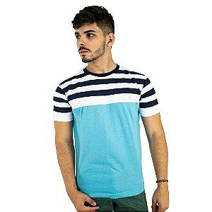 Camiseta Básica Masculina Azul Claro Listrada Blitz