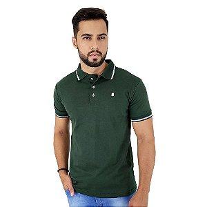 Camisa Polo Masculina Blitz Malha Suedine Verde Escuro